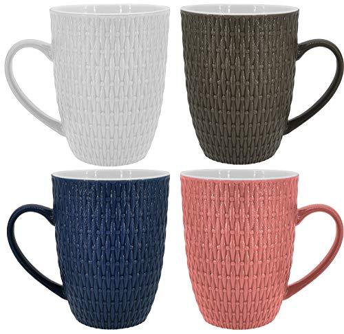Kaffeetassen Set | 4 Tassen | 350ml | Keramik | Strukturdesign | in den Farben blau, weiß, braun, rosa - Ideal für Ihr liebsten morgendlichen Kaffeegenuß (4 Stück)