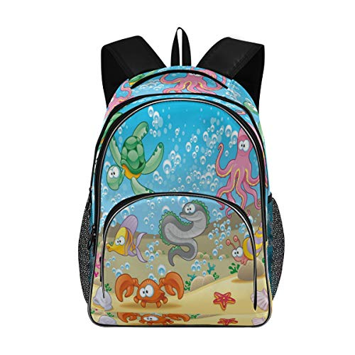 ALAZA Under The Sea Ocean Cartoon Fish Turtle Tortoise Crab Octopus Seahorse Snail Teens Elementary School Bag Casual Daypack Book Bags Travel Knapsack Bags