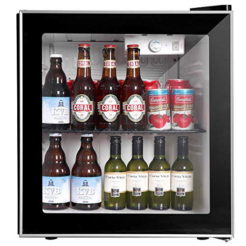 Mini Fridge Cooler with Glass, 60Can Beverage Refrigerator with Reversible Door for Beer Soda or Wine-1.6cu ft Small Drink Center Dispenser Perfect for Office/Basements/Home Bar