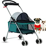 Dog Stroller Pet Stroller Cat Strollers Jogger Folding Travel Carrier Durable 4 Wheels Doggie Cage with Cup Holders 35Lbs Capacity Waterproof Puppy Strolling Cart for Small-Medium Dogs, Cats - Teal