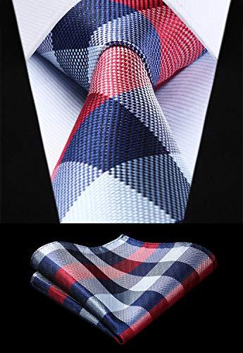 Best Quality Woven Men Tie Res Gray Navy Blue Plaid Check Necktie Handkerchief Set, Plaid Wool Fabric - Blue Yellow Plaid Fabric, Navy Blue Check Fabric, Green Plaid Placemats, Navy Blue Lamp Shades