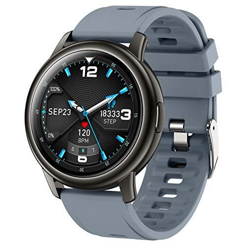 BNMY Smartwatch, Reloj Inteligente Impermeable IP68 para Hombre Mujer Niños, Pulsera De Actividad Inteligente con Monitor De Sueño Contador De Caloría Pulsómetros Podómetro para Android iOS,Gris