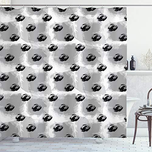 ABAKUHAUS Abstract Douchegordijn, Random schetsmatige Brush Blots, stoffen badkamerdecoratieset met haakjes, 175 x 220 cm, Charcoal Grey Pale Taupe