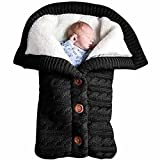 Newborn Baby Swaddle Blanket Fleece Stroller Wrap Nap Blanket Plus Velvet,Baby Kids Toddler Thick Knit Soft Warm Blanket Swaddle Sleeping Bag Stroller Sack (Black)