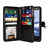 NEXTKIN Case Compatible with Motorola Moto Z Force Droid Edition / Z2 Force, Leather Dual Wallet TPU Cover, 2 Large Pockets Double Flap, Multi Card Slots Snap Button Strap for Moto Z Force - Black