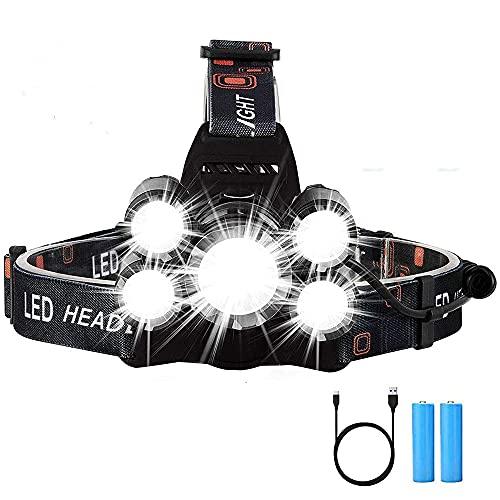 sdfkj Linterna Frontal LED, Linterna Cabeza Recargable de Alta Potencia 5 LED,6000 Lúmenes, 4 Modos, IPX4 Impermeable, Impermeable Linterna de Cabeza para Casco, Camping, Bicicleta, Pesca