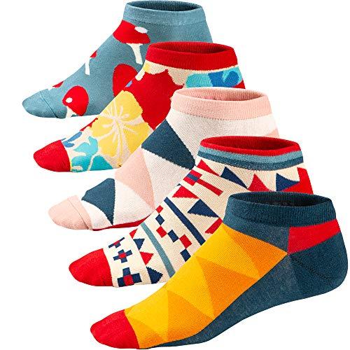 Ueither Lustigen Herren Socken Bunte Gemusterte Kurze Baumwolle Socken Sneakersocken Sportsocken 39-46