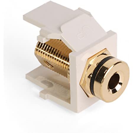 Amazon Com Leviton 40837 Btr Quickport Banana Jack Adapter Gold Plated With Red Stripe Light Almond Home Improvement