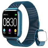BANLVS Smartwatch, 1.4 Inch Reloj Inteligente IP67 con Pulsómetro Presión Arterial, Monitor de Sueño Podómetro Contador de Caloría, Smartwatch Reloj Inteligente Deporte para Hombre Mujer (Azul)