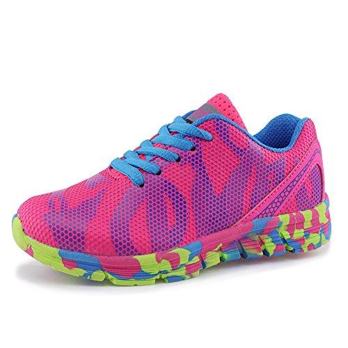 Hawkwell Unisex Waterproof Hiking Athletic Sneakers Running Shoes(Toddler/Little Kid/Big Kid),Fuchsia Mesh,2 M