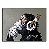 Animal Chimp Painting Abstract Modern Wall Art for Living Room Monkey 100% Oil Paintings on Canvas Thinking Gorilla Artwork (40 x 30 inch)