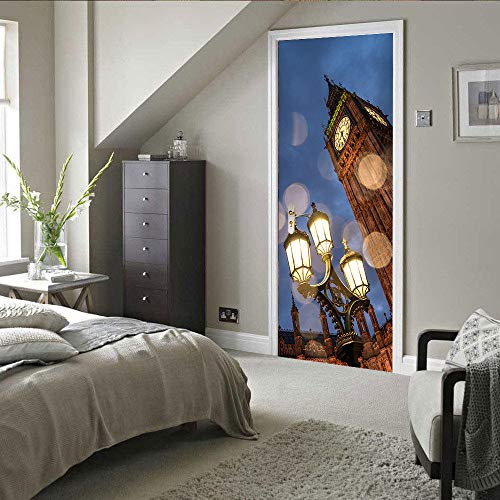 Deurfolie 3D Deurfolie Deur Decor Sticker Straat Licht Big Ben Kunst Stickers Pvc Poster Behang Zelfklevend Muurtattoo Poort Vinyl Muurschildering-As_Shown_77X200Cm