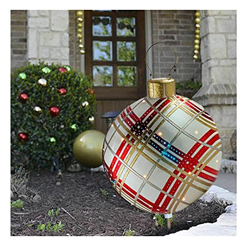 WYBF Outdoor Christmas PVC Inflatable Decorated Ball,23.7 inch Christmas Inflatable Ball Outdoor Garden Xmas Tree Decoration Ball Toy Gift (09)