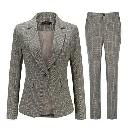 Women's Vintage 2 Piece Plaid Suit Set One Button Stylish Blazer and Pants Yellow