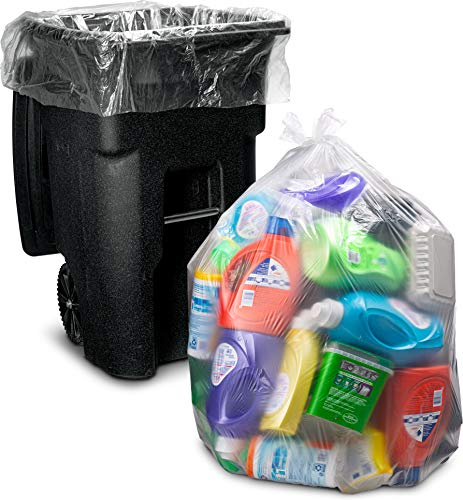95-96 Gallon Clear Trash Bags, (25 Count w/Ties) Large Clear Plastic Garbage Bags, 61'W x 68'H.