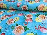 Jersey Stoff mit Blumen und Flamingos auf Türkis als