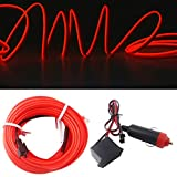 Neon Light El Wire 5M/16FT 12V with Fuse Protection for Automotive Car Interior Decoration with 6mm Sewing Edge (Red)