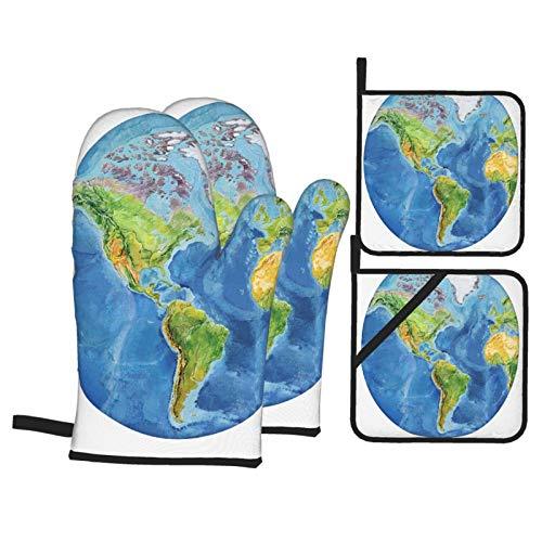Juegos de Manoplas y Porta ollas para Horno,Acuarela Mapa Geográfico Mundo Físico Europa Guantes de Cocina Resistentes al Calor para Hornear en la Cocina, Parrilla, Barbacoa,BBQ