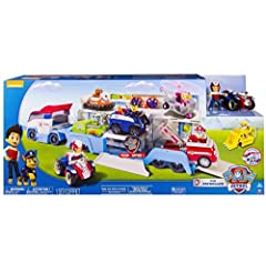 Children can drive their Paw Patrol vehicles in and head out together for a fresh out of the box new experience. The Paw Patroller accompanies Ryder and his ATV, and can hold three Paw Patrol vehicles inside and can show six vehicles when open. You'r...