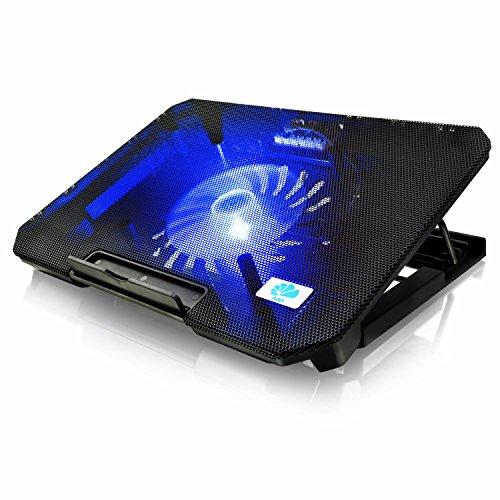 AABCOOLING NC74 - Notebook Ständer mit 125mm Lüfter, Einstellbare Neigung und Blau LED, Laptop Lüfter, Laptoptisch, Laptop Unterlage für Laptops bis 15,6 Zoll und PS4 / XBOX Consolen, Halterung