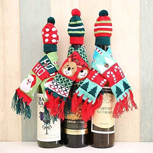 PHH Adorno de Navidad para botellas de Navidad, bufanda de punto, sombrero, traje de botella de vino tinto DIY para decoración del hogar oficina (color: traje de tres piezas, tamaño: 6 x 49 cm)
