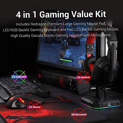 Redragon S101 Wired RGB Backlit Gaming Keyboard and Mouse, Gaming Mouse Pad, Gaming Headset Combo All in 1 PC Gamer Bundle for Windows PC – (Black)