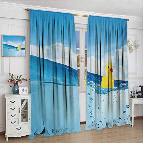 Buy GUUVOR Rubber Duck Blackout Curtain Little Duckling Toy Swimming in Pond Pool Sea Sunny Day Floa...