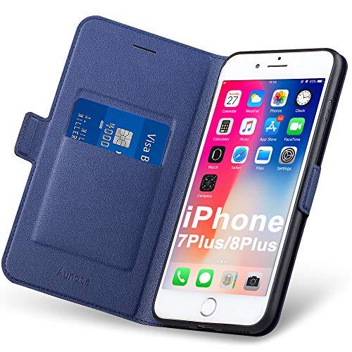 Aunote Handyhülle für iPhone 7 Plus Hülle/iPhone 8 Plus Hülle, Handyhülle iPhone 8 Plus Klapphülle, iPhone 8 Plus Schutzhülle, Tasche Etui Folio, Apple Flip Phone Cover Hülle Klappbar. Blau