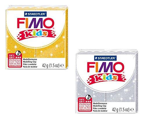 STAEDTLER 8030 AMZ 02 - Fimo kids glitter Modelliermasse, 2 Blöcke, 42 g, gelb/silber
