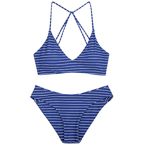 ZAFUL Damen Striped Caged Badeanzug Spaghetti-Trägern Mid Waist Bikini Set Bademode Dunkelblau L