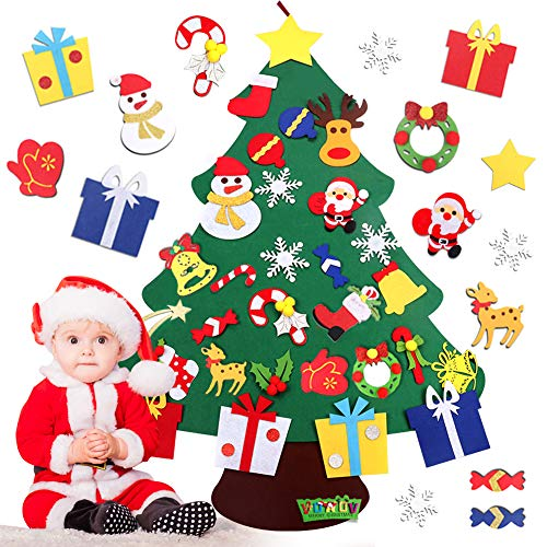 AUTUWT Fieltro Árbol de Navidad, DIY Decoración del árbol de Navidad, los Ornamentos Desmontables 30pcs, Regalos Colgantes de Navidad de la Pared para Las Decoraciones de la Navidad