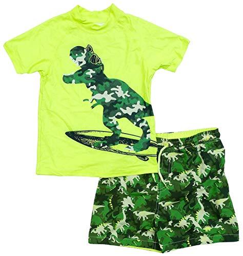 Bullahshah Boys Dinosaur Swim Set Bright Green Camo Print Swimming Beach Sun Shorts Top Trunks 5 Years