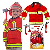 Firefighter Costume for Boys and Girls 9 Pieces Pretend Play Set for Kids - Fireman Toys include Axe, Helmet, Jacket, Fire Extinguisher, Flashlight, Walkie Talkie, Badge and more