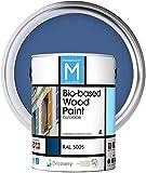 Pintura para Madera   Bio-based Wood Paint RAL 5005   4 L   para todo tipo de madera   Pintura madera exterior con un aspecto de acabado semi mate cálido y sedoso   Color Azul