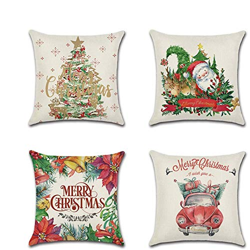 18x18 inches Christmas festival Theme Pattern Cushion Cover, 45cm x 45cm Pack of 4 Cotton Linen Pillow Throw Cushion Covers with Invisible Zipper Home for Home Living Room Sofa Couch Bed Decoration