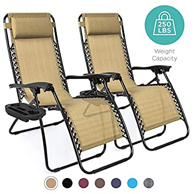 Best Choice Products Set of 2 Adjustable Steel Mesh Zero Gravity Lounge Chair Recliners with Pillows and Cup Holder Trays
