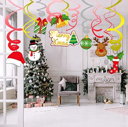 Sayala 30 Stück Weihnachtshängende Dekorationen,Sankt-Sockenbaum-Schneemann-Weihnachtsmütze Hängende Strudel für Frohe Weihnachtsparty-Dekoration