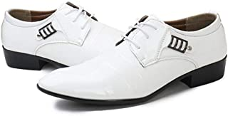 SHENTIANWEI Formal Business Oxfords for Men Dress Patent Shoes Lace up Microfiber Leather Pointed Toe Metal Decoration Waxed Laces Low Heel (Color : White, Size : 5.5 UK)