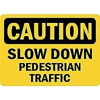 注意歩行者の速度を落とす 金属板ブリキ看板警告サイン注意サイン表示パネル情報サイン金属安全サイン
