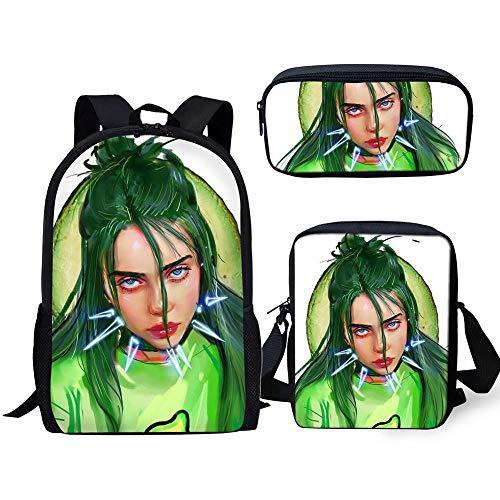 Fashion Backpack 3PC/Set Kids Book-Bag Billie Eilish Pattern School Bags Favorite Star Design Children Shoulder Book Bag-CDGX2045CEK