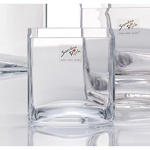 Sandra Rich 6er Set Glasvasen, Glaswürfel Dekogläser Cube 12x12cm quadratisch