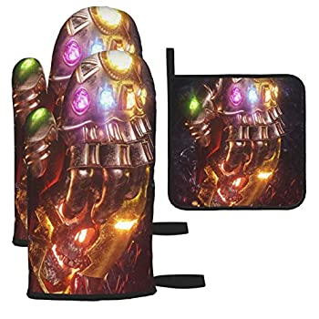 YEECUSTOM Thanos Infinity Gauntlet Oven Mitts and Pot Holders Sets 3 Piece Set,Suitable for Kitchen Cooking Heat Resistant Baking Grilling Machine Gloves