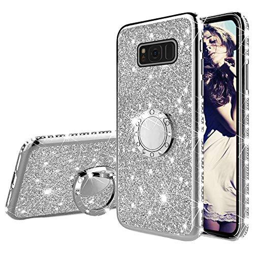 Misstars Glitzer Hülle für Galaxy S8 Silber, Bling Strass Diamant Weiche TPU Silikon Handyhülle Anti-Rutsch Kratzfest Schutzhülle mit 360 Grad Ring Ständer für Samsung Galaxy S8