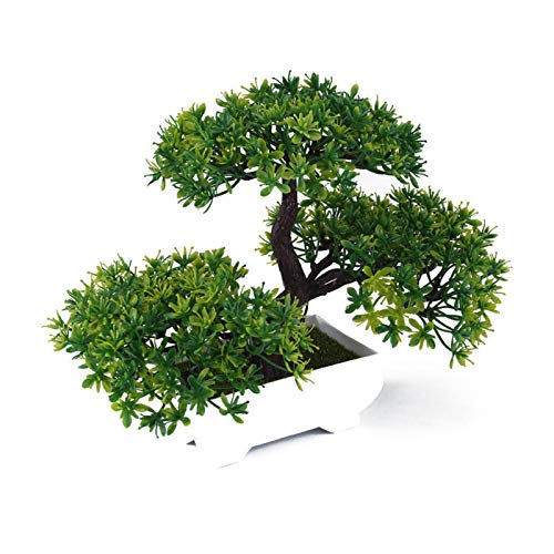 Artificial Bonsai Tree,Plastic Fake Plant Decoration Potted Artificial House Plants Guest-greeting Pine Bonsai Plant for Home Decoration Desktop Display