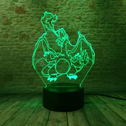 MQJ Anime Animal Ees 3D Ilusión Lámpara 3D Luz nocturna para niños Niñas Mesa Lámpara de Escritorio 16 Cambio de Color Decoración Lámpara Regalos Cumpleaños Festival Navidad para Adolescentes Amigos