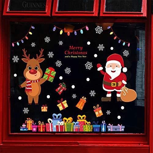 Weihnachten selbstklebend Fensterdeko Fensteraufkleber 4 Abnehmbare Fensterbilder von Weihnachtsmann Rentier Schneeflocken Aufkleber Weihnachtlicher Zierschmuck für Schaufenster Vitrinen Glasfronten