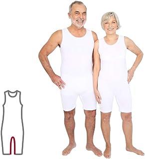 Pflegebody für Erwachsene bei Inkontinenz/Demenz, unisex, ärmellos/kurz, mit Beinreißverschluß, weiß, ActivePro L