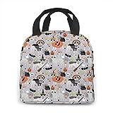 Bulldog francés Halloween negro y blanco neopreno loncha/loncha/almuerzo bolsa/picnic bolsas aisladas refrigerador organizador de viaje