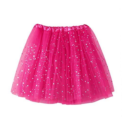 Andouy Damen Sparkly Star Pailletten Tutu Rock Tüll Organza Petticoat Balletttanz Geschichtet Kostüm Dress-up Größe 36-46(36-46,Fuchsie)