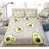 Cama de tres piezas Juego de ropa de cama de aguacate Funda de edredón de dibujos animados Juego funda nórdica de frutas...